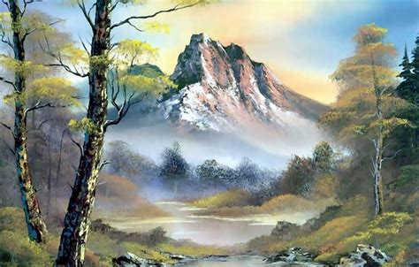 bob ross painting sky wallpaper picture landscape mountains nature trees