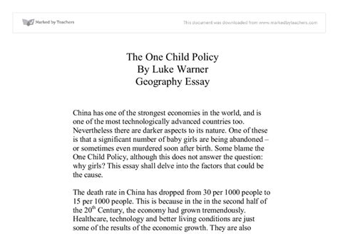 One Child Policy China Essay by One Child Policy In China Essay