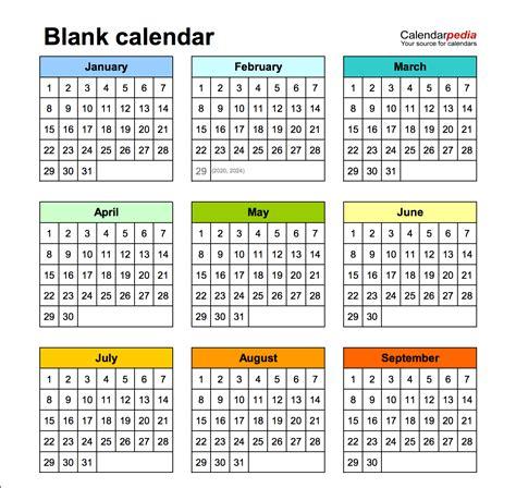 Print Empty Calendar