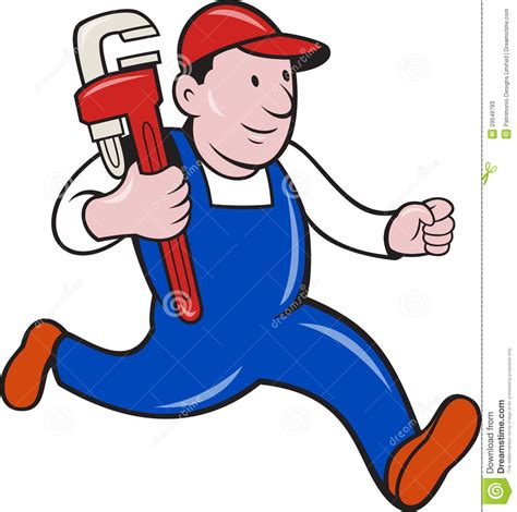 clipart idraulico plumber with monkey wrench stock vector image