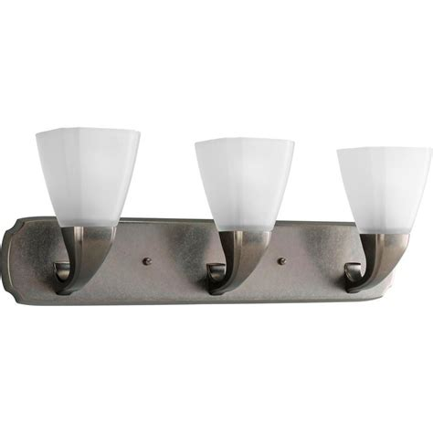 Aged Pewter Light Fixtures Progress Lighting Collection 3 Light Brushed Nickel Vanity Fixture P2848 09 The Home Depot