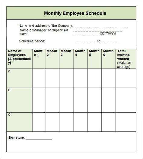 monthly work schedule template compliant employee excel