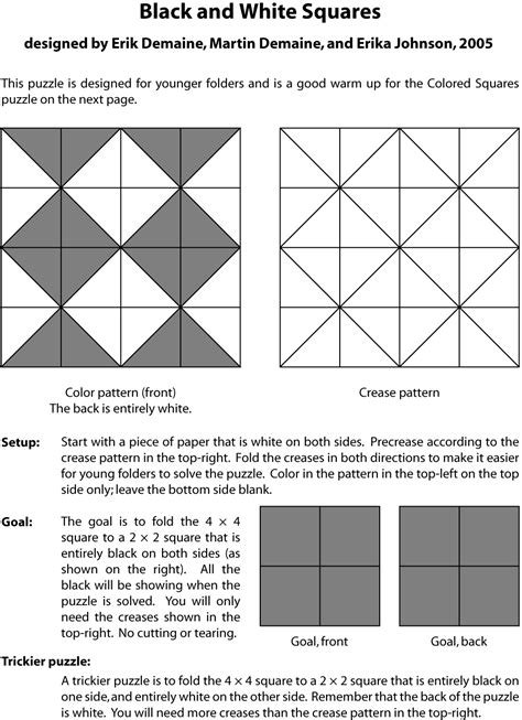 pattern of black and white squares crossword puzzle pcoc 2005 puzzles erik demaine and martin demaine