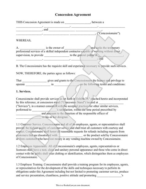 concession agreement template concessions quotes quotesgram