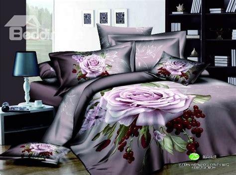 beddinginn 3d comforters beautiful purple big rose 3d print 4 piece duvet cover