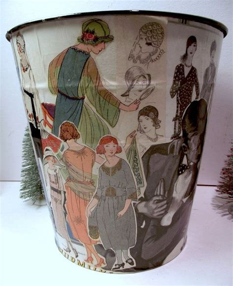 Decoupage Trash Can - vintage trash can downton inspired decoupage one
