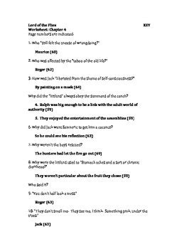 Lord of the Flies Chapter Questions and Answer Key by The
