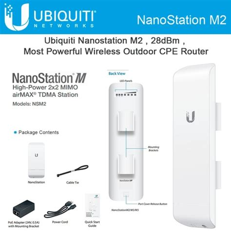Ubiquity Nanostation M2 150mbps 11dbi Nsm2 2 4ghz Airmax Cpe Ubnt ubiquiti nsm2 us version nanostation m2 2 4ghz indoor outdoor airmax cpe 150 mbps 13 km