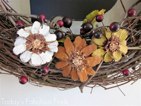 how to make pine cone flowers flower power pinterest today s fabulous finds fall grapevine wreath with pine