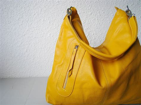 Handmade Hobo Bags - leather hobo max large yellowadeleshop handmade leather bag