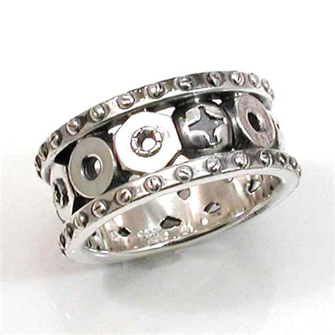 Via S Handcrafted Jewelry - steunk mens silver ring nails bolts and rivets