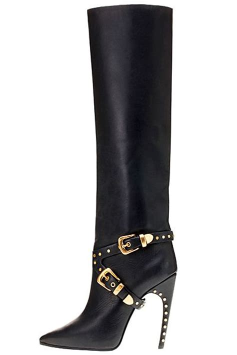 pair black and gold trendy leather boots fit for