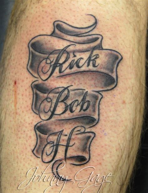 scroll with names tattooed by johnny at the