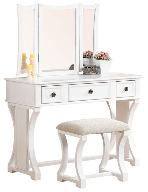 white vanities for bedrooms curved design 3 panel mirror vanity with stool drawer