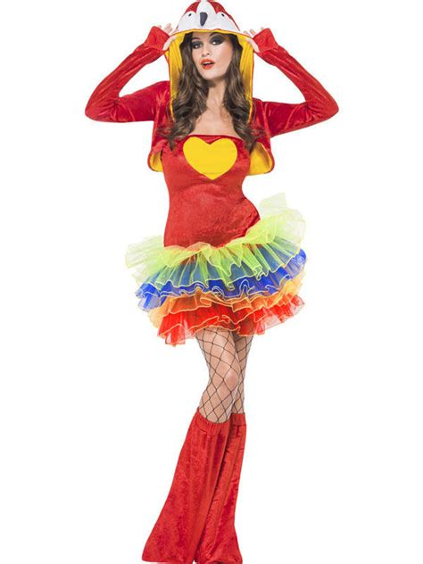sexy papagei damenkostuem rot bunt guenstige faschings