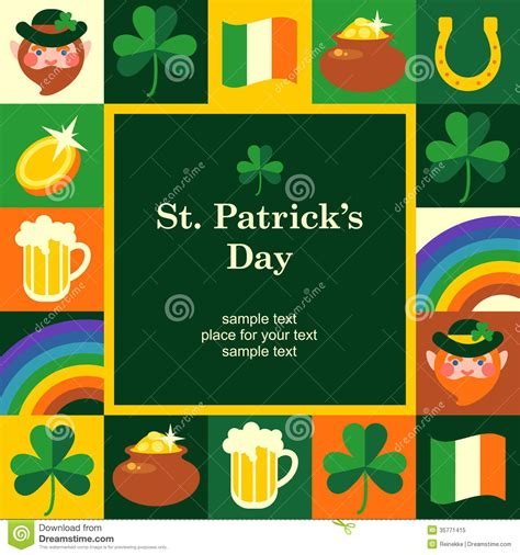 St S Day Photo Card Template by St Patricks Frame Stock Vector Image Of Rainbow