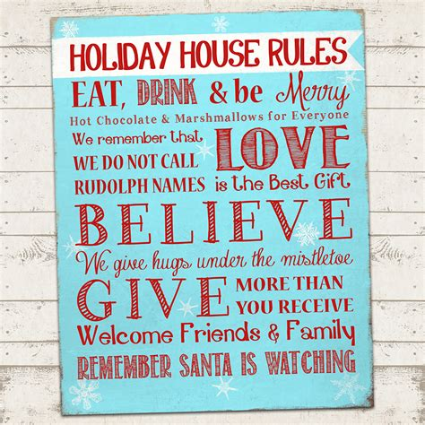 house rules home design christmas subway art print holiday house rules 11 x 14