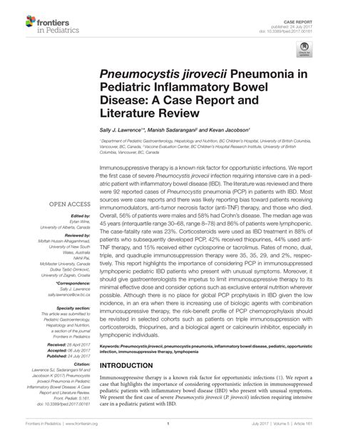 Marchiafava Bignami Disease Literature Review And Report by Pneumocystis Jirovecii Pneumonia In Pediatric Inflammatory Bowel Disease A Report And
