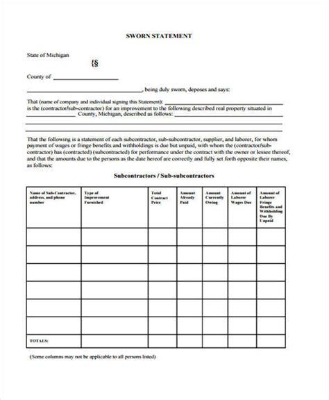 32 Sworn Statement Templates Sle Templates Contractor Sworn Statement Template Michigan