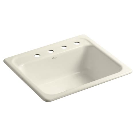 Shop Kohler Mayfield Single Basin Drop In Enameled Cast Cast Iron Kitchen Sinks