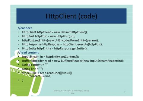 android httpclient android httpclient php mysql