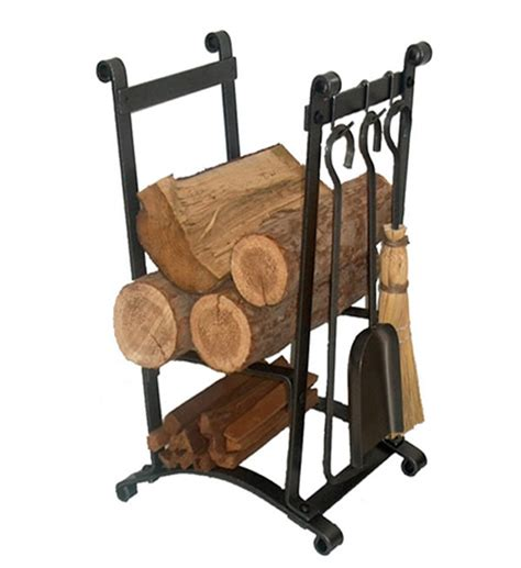 Compact Fireplace Tools by Compact Hammered Steel Log Rack With Tools In Fireplace