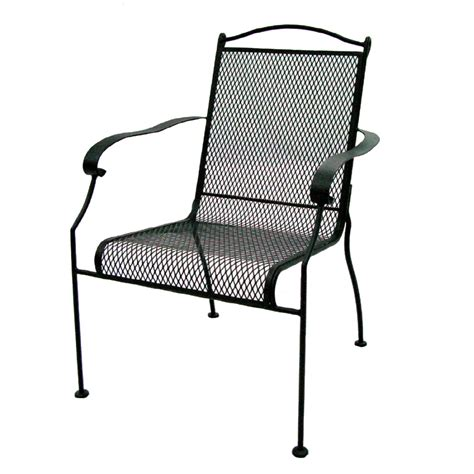 Mesh Patio Chairs Shop Garden Treasures Hanover Mesh Seat Wrought Iron Patio Dining Chair At Lowes