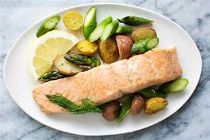 oven roasted salmon asparagus and new potatoes recipe simplyrecipes com