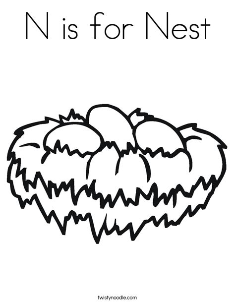 coloring page nest n is for nest coloring page twisty noodle