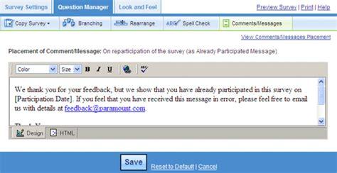 html pattern custom message custom survey message