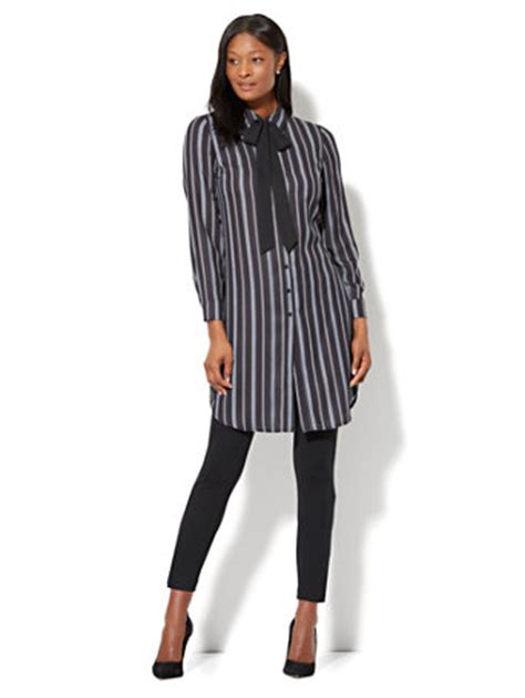 Bow Accent Shirt ny c bow accent tunic shirt stripe