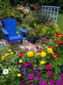 Pic Flower Garden Backyard Flower Garden With Chair Photographic Print By Darrell Gulin At Allposters