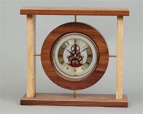 wooden clocks gold faced clock beveledge