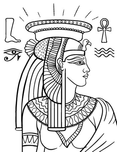 printable egyptian art printable cleopatra coloring page free pdf download at
