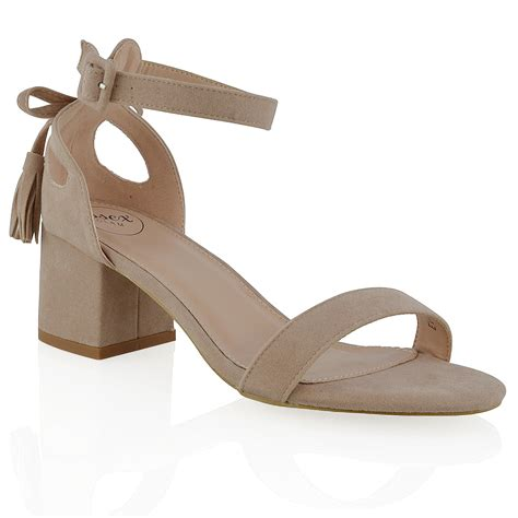 Heels Chelsea Bow Sandals by New Womens Ankle Block Low Heel Cut Out Bow