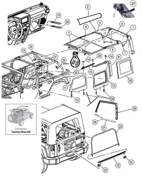 interactive diagram jeep wrangler jk 4 door soft top