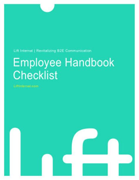 Employee Handbook Checklist Lift Internal Employee Handbook Cover Design Template