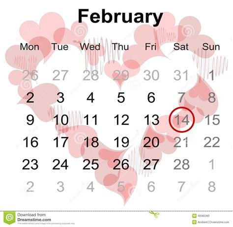 Calendar 2018 Valentines Day Calendar For February 2015 With Marked S Day