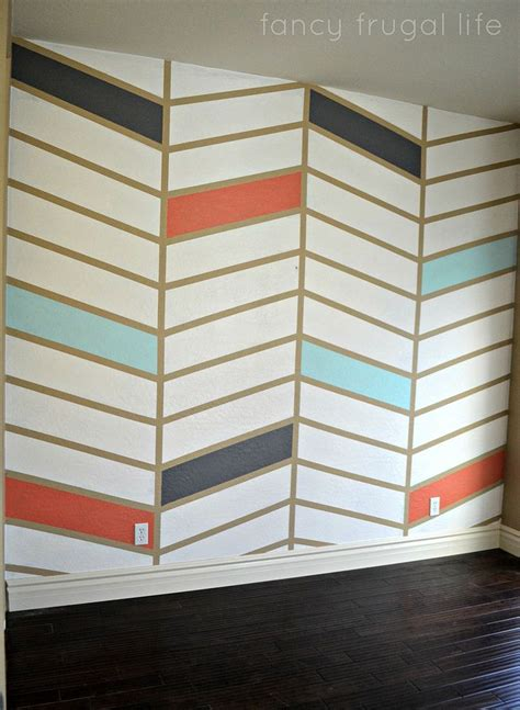 herringbone pattern wall hometalk diy herringbone pattern accent wall using tape