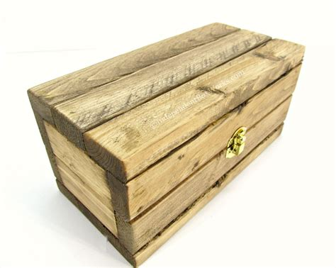 Handmade Box - rustic handmade wooden gift box with brass latch country