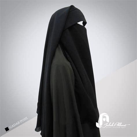 Gamis Arab Khanza cadar bandana poni purdah satu lapis bahan kain jetblack