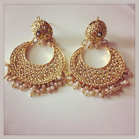 design earrings online white pearl chand bali with meenakari work online shopping