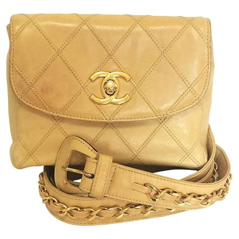Pack Hip Bag Beige vintage chanel beige calf leather waist purse pack