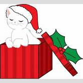 Christmas Clipart Image - Cute Little Kitty Coming out of a ...