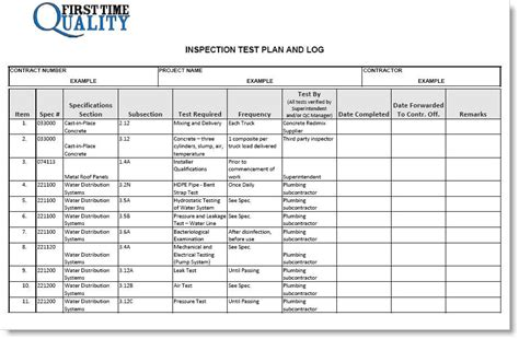 server test plan template inspection test plan form completed exle