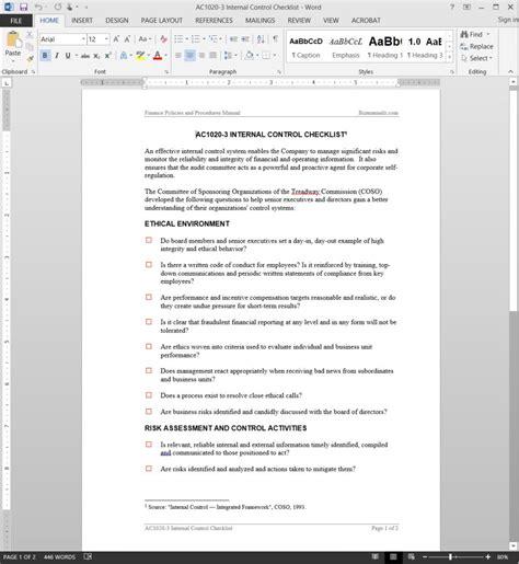 internal control checklist template
