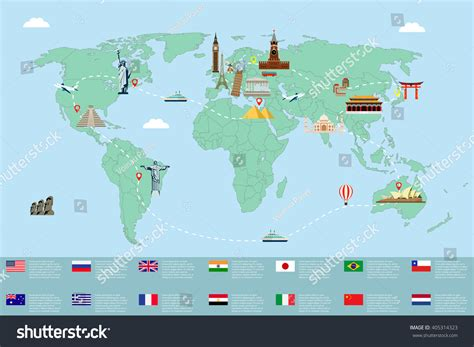 map of with landmarks world map landmarks travel tourism stock vector