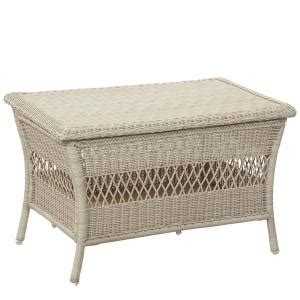 hton bay park white wicker outdoor trunk table