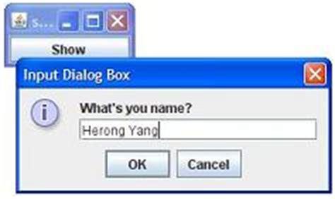 swing show dialog showinputdialog displaying input dialog boxes