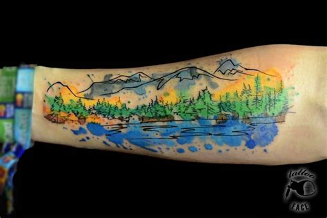 watercolor mountain tattoo 30 mountain with trees tattoos